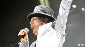 Rolling Stones' Mick Jagger sings at Fenway Park in Boston Sunday, Aug. 21, 2005, where the Rolling Stones opened their A Bigger Bang world tour. (AP Photo/Winslow Townson)