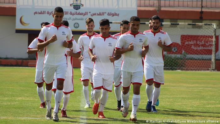 Palestine national team players training in Gaza City
