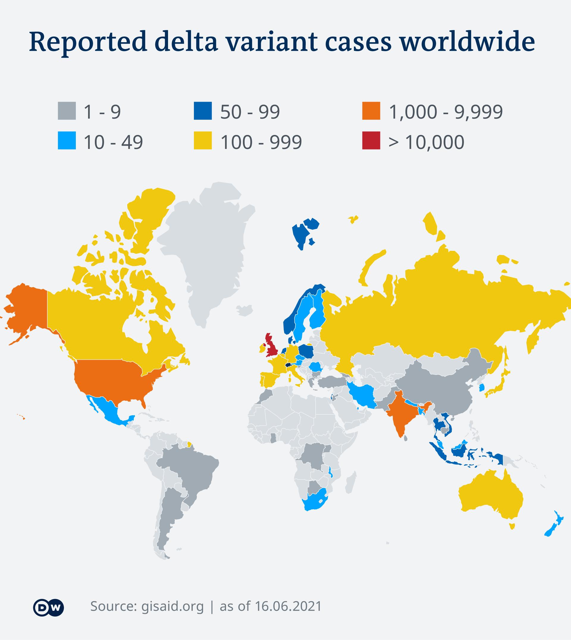 Infografik Karte Erfasste Fälle der Delta-Variante weltweit EN