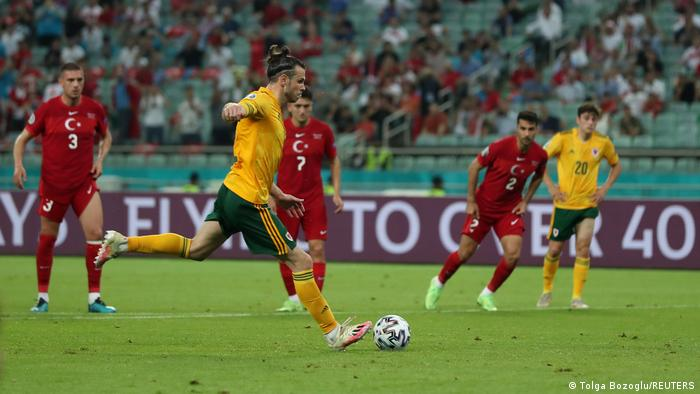 Gareth Bale missing a 61st minute penalty for Wales against Turkey
