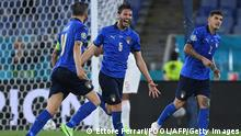 Italy's midfielder Manuel Locatelli (C) celebrates with teammates after scoring the second goal during the UEFA EURO 2020 Group A football match between Italy and Switzerland at the Olympic Stadium in Rome on June 16, 2021. (Photo by Ettore Ferrari / POOL / AFP) (Photo by ETTORE FERRARI/POOL/AFP via Getty Images)