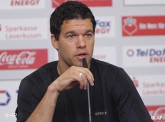 German soccer player Michael Ballack is seen during a news conference in Leverkusen, Germany, on Wednesday, July 14, 2010, where he is presented as new player of German first league soccer club Bayer 04 Leverkusen.