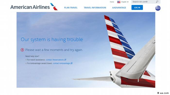 Screenshot of the American Airlines website showing that their system is having trouble at the moment