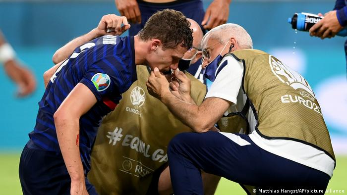 Benjamin Pavard was allowed to play on after suffering a head injury