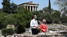 17.06.2021 Greek Prime Minister Kyriakos Mitsotakis and European Commission President Ursula von der Leyen meet at the Ancient Agora in Athens, Greece, June 17, 2021. REUTERS/Louiza Vradi/Pool