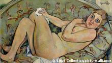 Reclining Nude, 1928, Oil on canvas (lined), 23 5/8 x 31 11/16 in., Paintings, Suzanne Valadon (French, Bessines-sur-Gartempe 1865?1938 Paris), Suzanne Valadon posed as a model for the artists Renoir, Degas, and Toulouse-Lautrec before she began painting herself in 1893. While she favored still-lives and portraits, Valadon is best known for her paintings of female nudes?a subject rarely chosen by women painters at the time