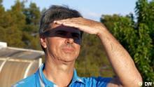 Evangelos Spanos, Trainer des Fußballteams Cosmos FC auf der griechischen Insel Lesbos.