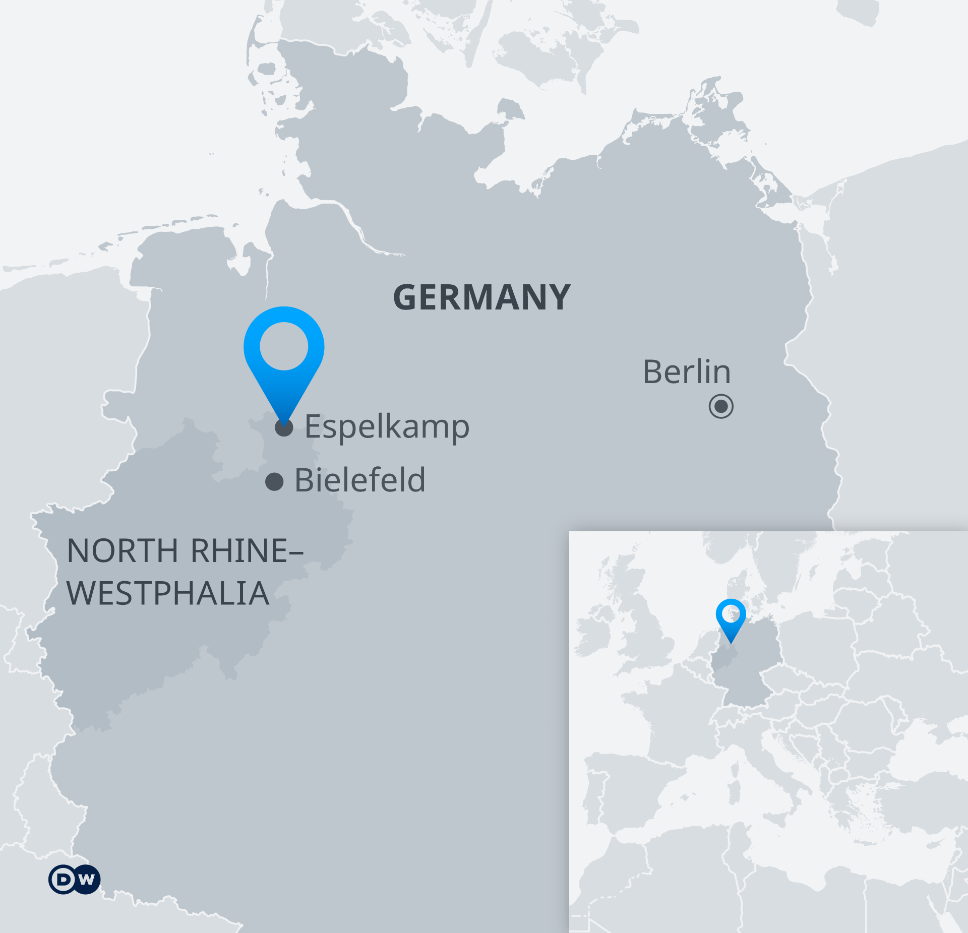 Map showing the location of the small town of Espelkamp