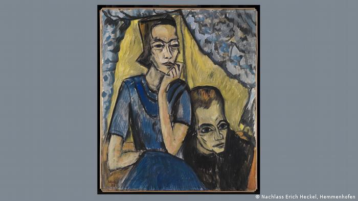Pintura retrata um homem e uma mulher