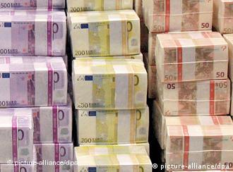 Stacks of euro notes