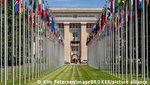 Flaggen vor dem Völkerbundpalast, Vereinte Nationen, UN, Palais des Nations, Genf, Schweiz, Europa