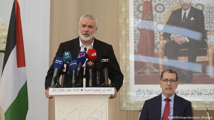 إسماعيل هنية في مؤتمر صحفي بعد لقائه مع رئيس الوزراء المغربي سعد الدين العثماني