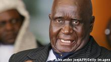 Zambian First President Kenneth Kaunda is pictured as Rupiah Banda (not pictured) is sworn in as Zambia's fourth president in Lusaka on November 2, 2008 after a narrow election win over opposition leader Michael Sata, whose supporters rioted during the night over alleged vote fraud. Banda was sworn in just two hours after election officials declared him the winner with 40.09 percent of the vote to Sata's 38.13 percent. AFP PHOTO / ALEXANDER JOE (Photo credit should read ALEXANDER JOE/AFP via Getty Images)