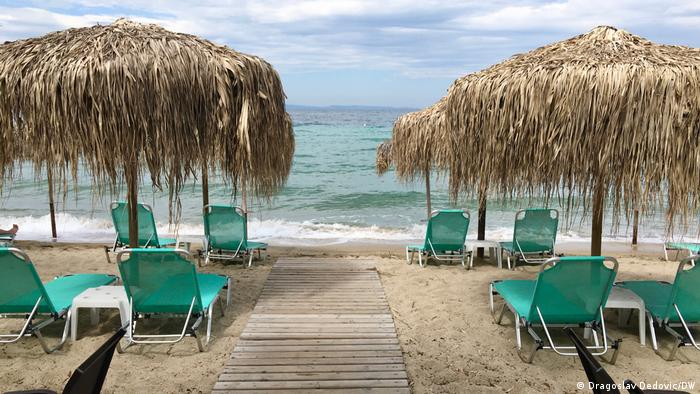 Griechenland Stadt Neos Marmaras Leerer Strand