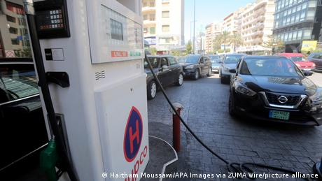 Long lines for gas at a gas station in Beirut