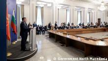 Der mazedonische Premierminister Zoran Zaev mit dem bulgarischen Premierminister Stefan Yanev in Sofia (17.06.2021)