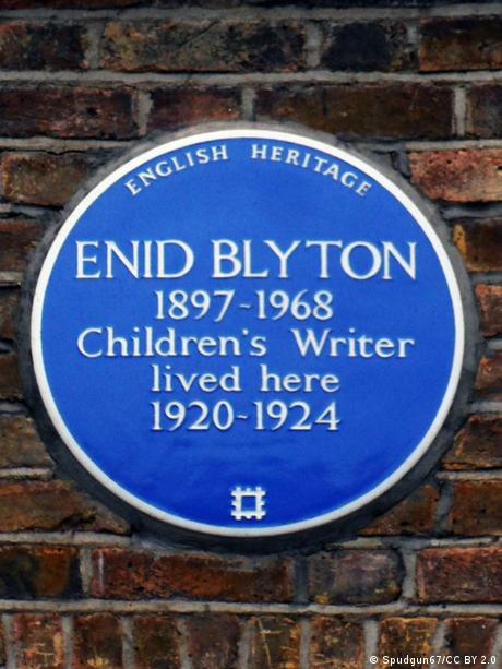 Plaque on wall of Enid Blyton's home.