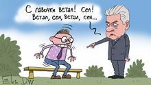 Karikatur Sergey Elkin Russland Coronavirus in Moskau