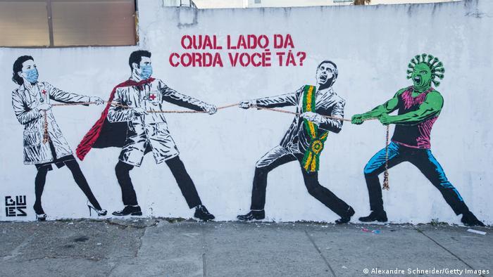 Foto de un mural en Brasil contra el COVID-19