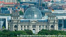 A bird's-eye view of the Reichstag building in Berlin