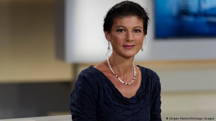 Sahra Wagenknecht in a TV studio smiling into the camera