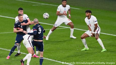 لقطة من تعادل إنجلترا مع اسكتلندا في ملعب ويمبلي (18/6/2021)