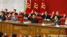 In this photo provided by the North Korean government, North Korean leader Kim Jong Un, center, attends a Workers' Party meeting in Pyongyang, North Korea, Friday, June 18, 2021. Kim ordered his government to be prepared for both dialogue and confrontation with the Biden administration — but more for confrontation — state media reported Friday, days after the United States and others urged the North to abandon its nuclear program and return to talks. Independent journalists were not given access to cover the event depicted in this image distributed by the North Korean government. The content of this image is as provided and cannot be independently verified. (Korean Central News Agency/Korea News Service via AP)