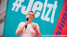 Co-leader of The Left Susanne Hennig-Wellsow addresses a party congress of Germany's The Left (Die Linke) in Berlin, on June 19, 2021. (Photo by Christoph Soeder / POOL / AFP)