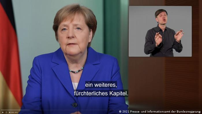 German Chancellor Angela Merkel appearing in a Federal Press Office podcast