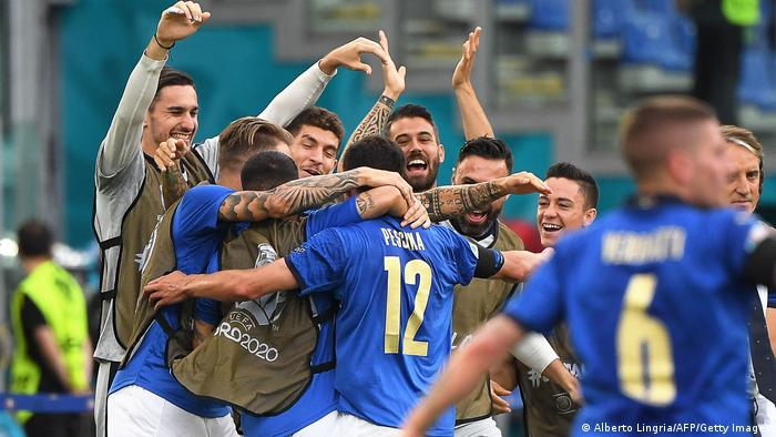 Italy celebrate the only goal of the game, by Matteo Pessina, against Wales in Rome
