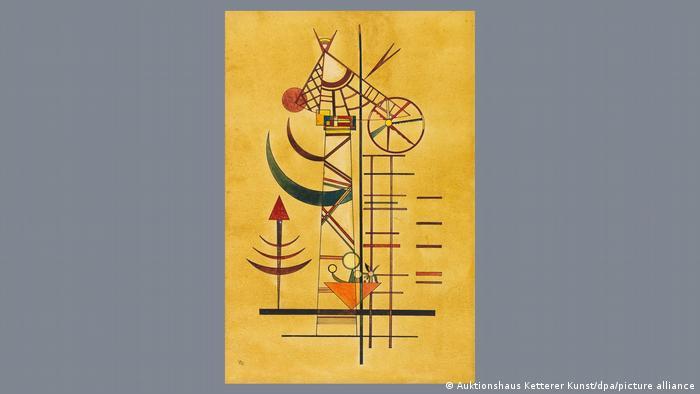 Wassily Kandinsky watercolor painting called Gebogene Spitzen