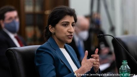 Newly appointed FTC Commissioner Lina Khan testifying during a Senate hearing in April 2021