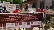 Demonstration gegen die Vergewaltigung von Frauen im Tschad bei, die heute Morgen, 21.6.2021, in N'Djaména stattfand.
