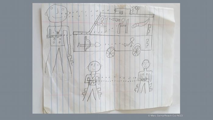 Kumba, Kamerun: Kinderzeichnung zeigt lächelnde Menschen, die aufeinander schießen (gesammelt von Reach Out)