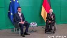 Bundestagspräsident Dr. Wolfgang Schäuble hat seinen kosovarischen Amtskollegen Glauk Konjufca am Montag, 21. Juni 2021, zu einem Gespräch im Reichstagsgebäude empfangen. Zentrale Themen des einstündigen Gesprächs waren der perspektivische Beitritt der Republik Kosovo zur EU und der damit verbundene, von der EU moderierte Dialog zwischen Kosovo und Serbien mit dem Ziel einer umfassenden Normalisierung der Beziehungen beider Länder. FOTO Anila Shuka Anila Shuka