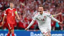 Soccer Football - Euro 2020 - Group B - Russia v Denmark - Parken Stadium, Copenhagen, Denmark - June 21, 2021 Denmark's Mikkel Damsgaard celebrates scoring their first goal Pool via REUTERS/Wolfgang Rattay