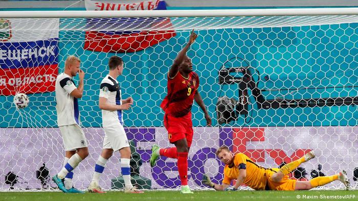 Belgium's Romelu Lukaku scored his third goal of the tournament