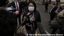 LIMA, PERU - JUNE 21: Keiko Fujimori, leader of the Popular Force party and presidential candidate, speaks to press as she faces her third request for preventive detention from the Public Ministry on the alleged illegal contributions to the electoral campaigns of 2011 and 2016, in Lima, Peru, on June 21, 2021. Gerardo Marin / Anadolu Agency