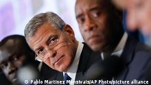 Actors George Clooney, left center, and Don Cheadle, right, during a press conference to discuss an investigation about corruption in South Sudan at the National Press Club in Washington, Monday, Sept. 12, 2016. (AP Photo/Pablo Martinez Monsivais)