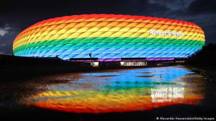 Munich's Allianz Arena lit in the rainbow colors of the Pride flag