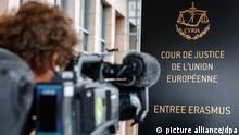 epa04964758 A cameraman films the logo of the European Court of Justice (SCJ) in Luxembourg, 05 October 2015. The European Court of Justice (ECJ) on 06 October 2015 is to announce a verdict in the case of Schrems v Data Protection Commissioner of Ireland over Schrems's claims that his privacy data was allegedly violated Facebook within the scope of NSA mass surveillance programs. Austrian activist Schrems is suing for damages against the US firm on behalf of 25,000 Facebook users, arguing that Facebook collects and uses private data without adequate consent from users. Schrems also charges that Facebook has provided data to the National Security Agency (NSA), the US digital intelligence unit. EPA/JULIEN WARNAND ++ +++ dpa-Bildfunk +++