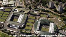 2021 Wimbledon Preview Package. File photo dated 08-07-2019 of Aerial view of the Wimbledon Championships at the All England Lawn Tennis and Croquet Club, Wimbledon. Issue date: Monday June 21, 2021. There was no action at SW19 for the first time since World War Two in 2020 due to the coronavirus pandemic, so it makes a welcome return this year. See PA story TENNIS Wimbledon Talking Points. Photo credit should read Thomas Lovelock/AELTC Pool Wi/PA Wire. URN:60489504