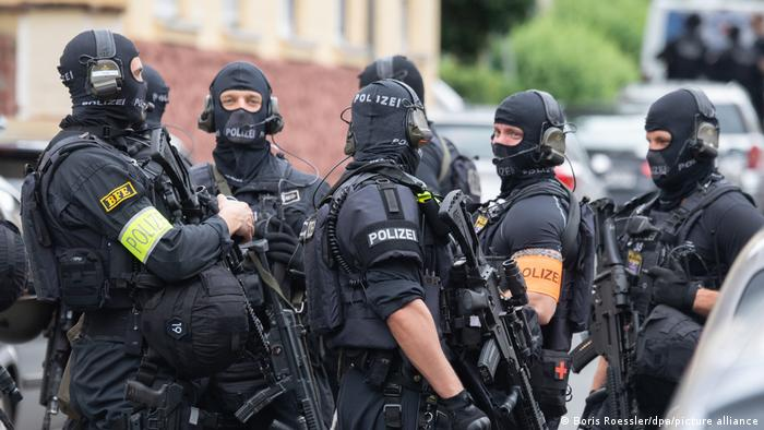 A group of armed police in Frankfurt
