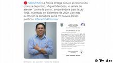 Miguel Mendoza, periodista deportivo nicaragüense detenido por el régimen de Daniel Ortega.