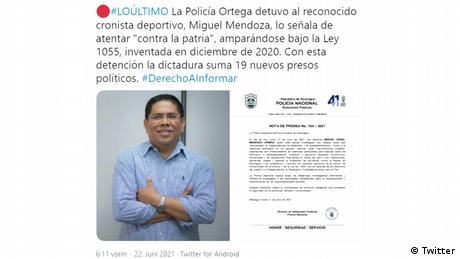 Miguel Mendoza, periodista deportivo nicaragüense detenido por el régimen de Daniel Ortega. (Captura de pantalla de un tuit de Artículo66.com).