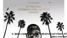 Plakat 74. Filmfestival in Cannes Quelle: https://www.festival-cannes.com/fr/press/press-articles/communique/articles/laffiche-du-74e-festival-de-cannes (aufgerufen am 22/06/21) Copyright Crédits de l'affiche officielle du 74e Festival de Cannes : Photographie de Spike Lee avec l'autorisation de Bob Peterson & Nike © Tous droits réservés Graphisme © Hartland Villa