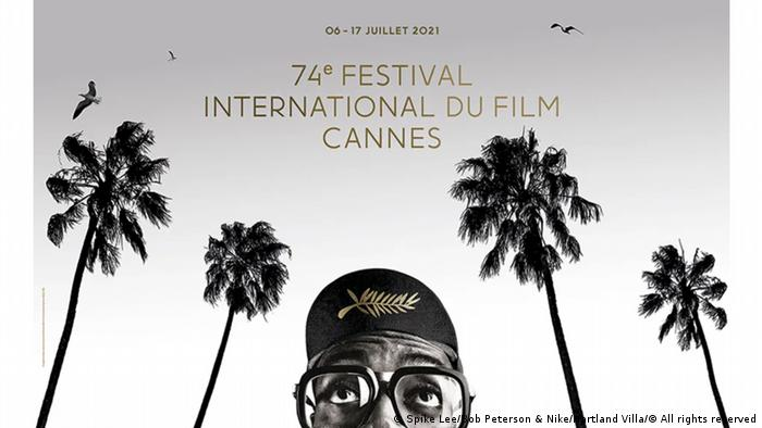 Cannes Film Festival poster 2021 with black-and-white photo of Spike Lee looking up at palm trees.