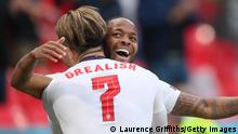 LONDON, ENGLAND - JUNE 22: Raheem Sterling of England celebrates with Jack Grealish after scoring their side's first goal during the UEFA Euro 2020 Championship Group D match between Czech Republic and England at Wembley Stadium on June 22, 2021 in London, England. (Photo by Laurence Griffiths/Getty Images)