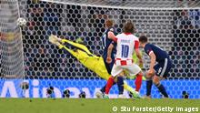 GLASGOW, SCOTLAND - JUNE 22: Luka Modric of Croatia scores their side's second goal past David Marshall of Scotland during the UEFA Euro 2020 Championship Group D match between Croatia and Scotland at Hampden Park on June 22, 2021 in Glasgow, Scotland. (Photo by Stu Forster/Getty Images)