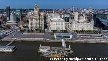 Liverpool waterfront stock. A aerial view of The Liverpool waterfront with a Mersey Ferry at the ferry terminal. Picture date: Monday May 31, 2021. Photo credit should read: Peter Byrne/PA Wire URN:60113774
